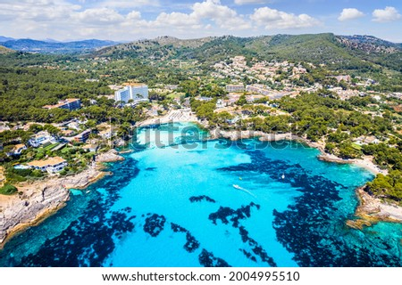 Aerial view with Sa Font de Sa Cala, north Mallorca, Spain Foto stock ©