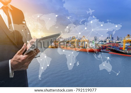 Aerial view, Working man and container ship in import, Container ship in import export and business logistic.
