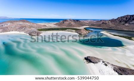 Aerial views from Balandra beach, Baja California Sur, Mexico.