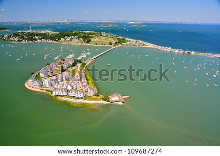 Aerial views of Boston area - stock photo