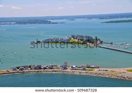Aerial views of Boston area