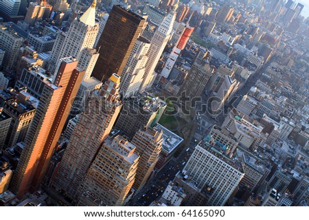 Aerial views of midtown Manhattan