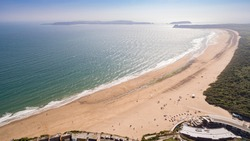 Aerial views of Tenby on the South Pembrokeshire coast Wales, UK