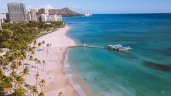 Aerial Waikiki beaach, Honolulu Oahu Hawaii