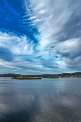 Aerial waterscape over the bay  at Woy Woy, NSW, Australia.