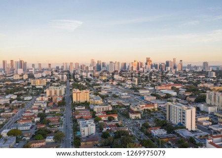 Aerial west side of Downtown Miami Florida Little Havana #1269975079