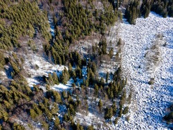 Aerial winter view of Stone river know as Zlatnite Mostove (Golden Bridges) at Vitosha Mountain, Sofia City Region, Bulgaria