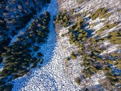 Aerial winter view of Stone river know as Zlatnite Mostove (Golden Bridges) at Vitosha Mountain, Sofia City Region, Bulgaria