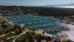 aerial yatch marina in sigacik town, izmir of turkey. aerial luxury boats and yatchs.