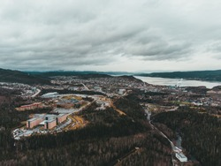 Aerialview of the city of corner brook newfoundland
