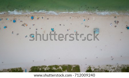 Aeriel view from Haulover Beach, Florida, USA. Haulover Sandbar. #712009240