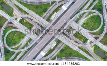 Aeriel view highway road intersection for transportation or traffic background. #1154285203