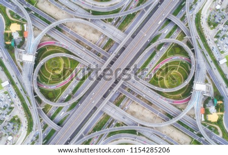 Aeriel view highway road intersection for transportation or traffic background. #1154285206