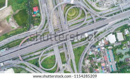 Aeriel view highway road intersection for transportation or traffic background. #1154285209