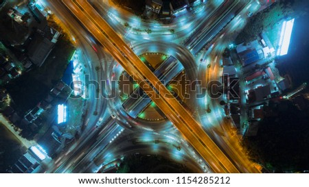 Aeriel view highway road intersection for transportation or traffic background. #1154285212