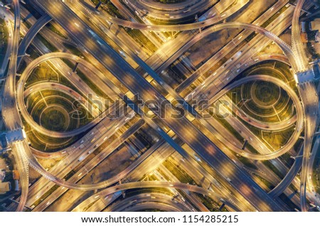 Aeriel view highway road intersection for transportation or traffic background. #1154285215