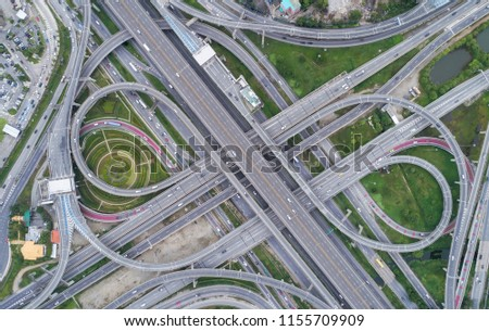 Aeriel view highway road intersection for transportation or traffic background. #1155709909