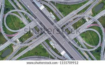 Aeriel view highway road intersection for transportation or traffic background. #1155709912