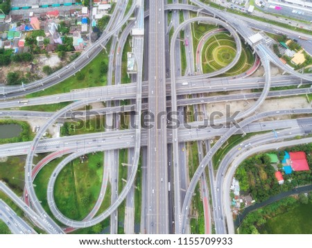 Aeriel view highway road intersection for transportation or traffic background. #1155709933