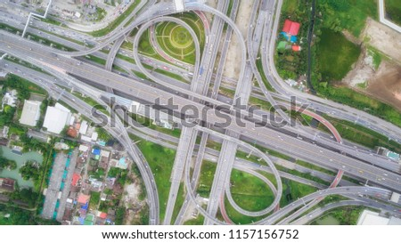 Aeriel view highway road intersection for transportation or traffic background. #1157156752