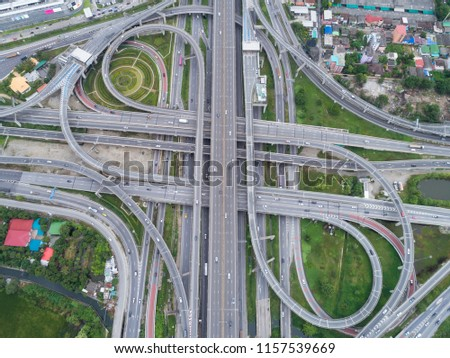 Aeriel view highway road intersection for transportation or traffic background. #1157539669