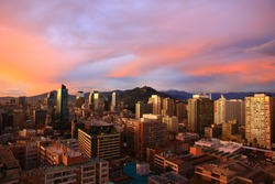 Aeriel view of capital city Santiago de Chile in sunset, Chile, South America