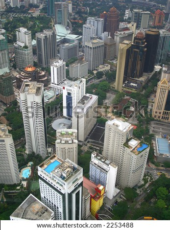 Aeriel view of Kuala Lumpur, the capital city of Malaysia.