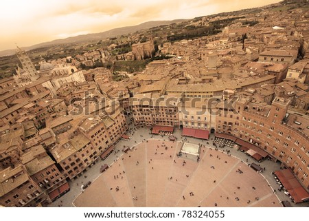 Aeriel view of Siena, Italy, with Piazza Del Campo and the Cathedral - sepia toned
