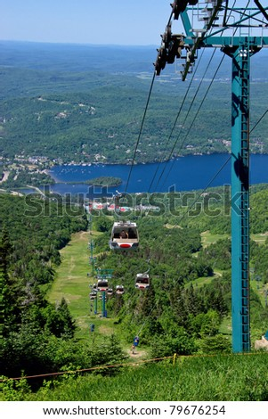Aeriial View of Peoples using the chairlift to ascend and descend the Tremblant mountain, with background The Village of Tremblant and the Laurentian Mountains.