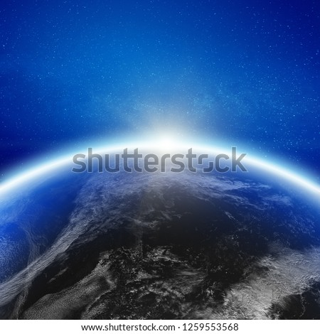 Aero space planet Earth horizon. Elements of this image furnished by NASA. 3d rendering