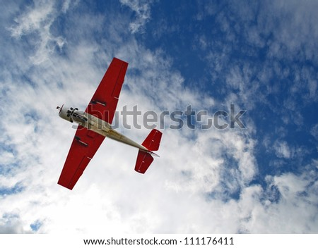 Aerobatic airplane in the sky