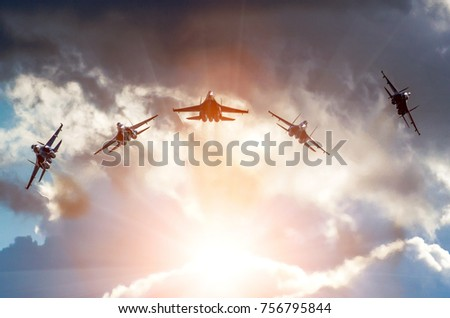 Aerobatic group formation at blue sky during.