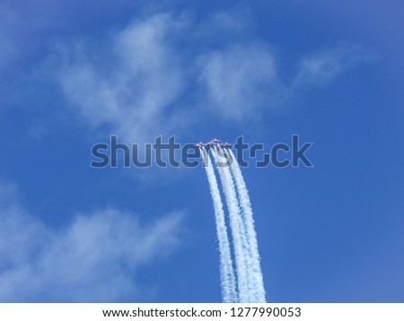 Aerobatic show of airplanes