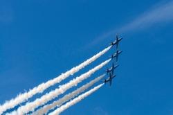 Aerobatic team performs flight