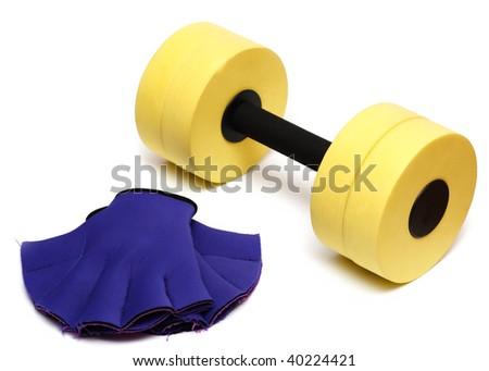 aerobics equipment dumbbell, gloves on white Stock photo ©