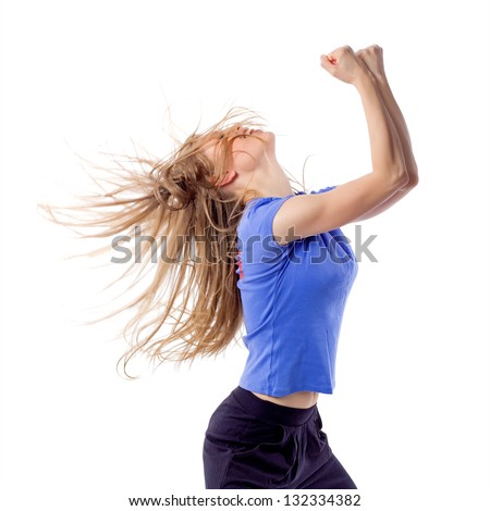 Aerobics fitness female dancing with disheveled hair and arms raised. Happy cheerful woman enjoying zumba dance. Isolated on white background