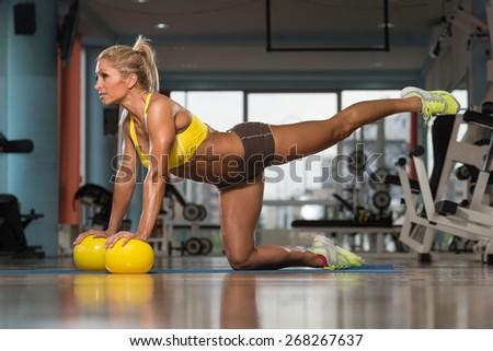 Aerobics Pilates Woman With Yoga Balls On Fitness Class