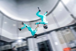 Aerodynamic tunnel. Athletes from Thailand are engaged in skydiving. Aerodynamics. International competition.