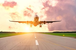 Aeroplane landing at the airport with morning good calm