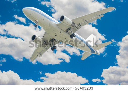 aeroplane on blue sky background