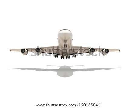 Aeroplane render isolated on white background with shadow