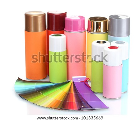 aerosol cans and bright paper palette isolated on white