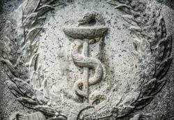 Aesculapian staff - Caduceus at a historic gravestone (munich-cemetery west - hertrons 1902)