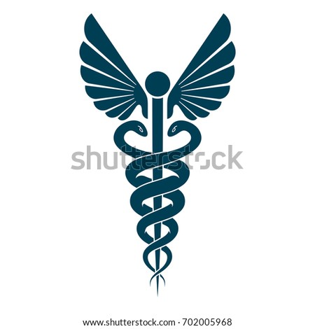 Aesculapius abstract emblem composed using wings and snakes best for used in pharmacy advertisement. #702005968