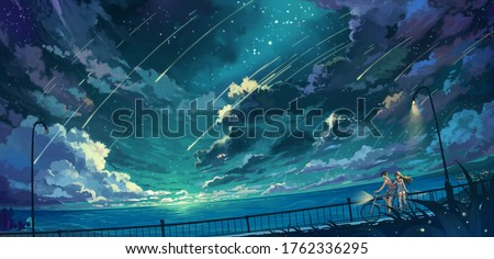 Aesthetic anime theme illustration of a boy and girl Foto stock ©