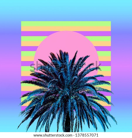 Aesthetic art collage. Palm. Beach mood. Zine culture trend #1378557071