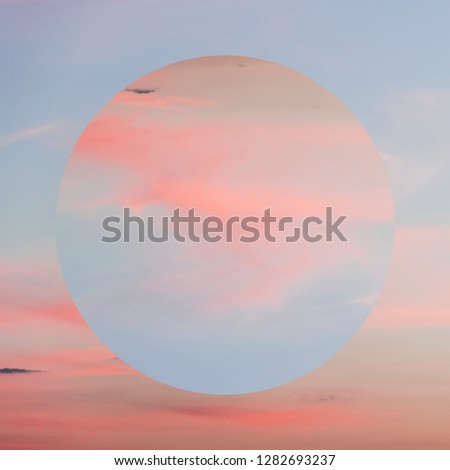 Aesthetic art collage with beautiful sky sunset and mirror reflection in circle frame. Minimal