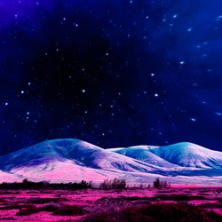 Aesthetic collage wallpaper. Mountains and starry cosmic sky