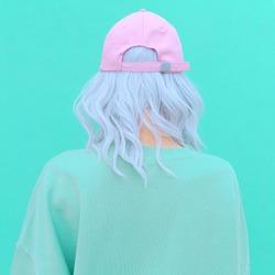 Aesthetic girl in stylish accessories b-boy cap. Fresh pastel colours monochrome fashion design