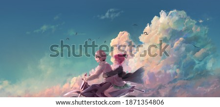 Aesthetic illustration of an anime couple